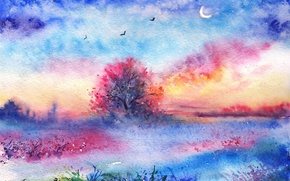 Picture grass, birds, tree, watercolor, painted landscape