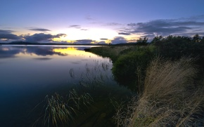 Picture the sky, grass, water, clouds, landscape, sunset, surface, reflection, river, shore, The evening