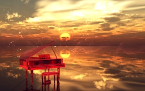 Picture water, clouds, Sunset, sparks, musical instrument