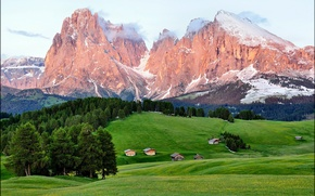 Picture forest, summer, mountains, home, Enrosadira Italia