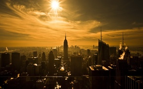 Wallpaper the sun, skyscrapers, New York, Sepia