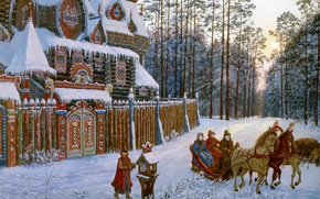 Picture winter, forest, snow, house, pine, twilight, Vsevolod Ivanov, Russian folklore, Russian architecture, three horses, On …