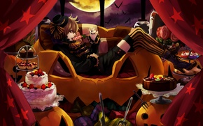 Picture girl, night, sofa, the moon, art, pumpkin, cake, curtains, Lollipop, halloween, sweet, fork, lots chiikawa
