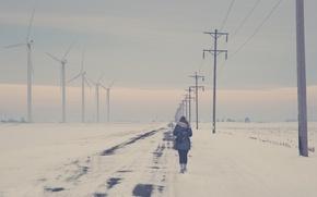 Picture road, girl, back, power lines, wind turbine, walking, winter snow