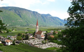 Picture mountains, field, village, Italy, Lana, plantation