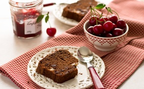 Picture cherry, berries, plate, pie, spoon, cherry, cakes, jam, cupcake