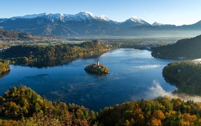 Picture autumn, mountains, island, Slovenia, The Julian Alps, lake bled, Church of the assumption of the …