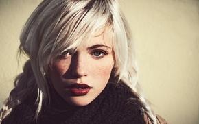 Picture look, scarf, blonde, beauty, freckles, braids, braids, Devon Jade