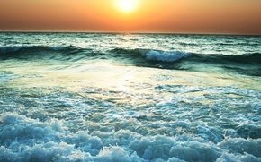 Picture wave, the sun, sunset, shore, Sea, horizon