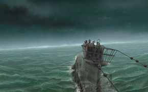 Picture water, storm, Submarine, team