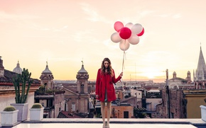 Wallpaper Italy, twilight, girl, sunset, dusk, roof, Rome, balloons