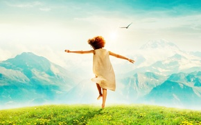 Picture the sky, grass, the sun, joy, mountains, mood, bird, meadow, girl, dandelions, Heidi, Alpine fairytale