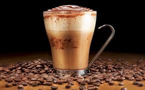 Picture glass, coffee, grain, drink, foam, espresso
