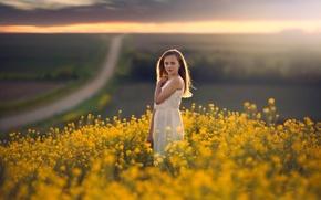 Wallpaper girl, road, bokeh, field, space