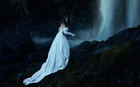 Picture girl, night, pose, stones, fear, fantasy, rocks, white, hair, dark, waterfall, dress, brunette, fantasy, witch, …