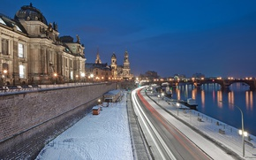 Picture Germany, night, Dresden, winter, snow, street, blue hour, River Elbe