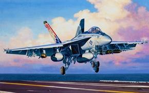 Picture war, art, painting, jet, F/A 18E Super Hornet