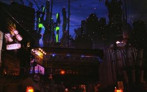 Picture night, lights, neon genesis evangelion, megapolis, art, military, patrol, roundup, Hirochi Katou