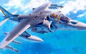 "Picture figure, art, attack, American, vertical, McDonnell, Douglas AV-8B, ""Harrier"" II, takeoff and landing"