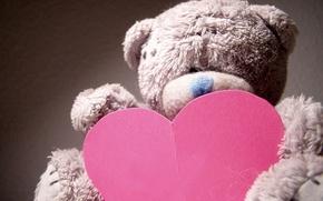 Wallpaper macro, mood, holiday, gift, toy, heart, bear, bear, love, Valentine's day, plush, heart, Valentine's day, ...