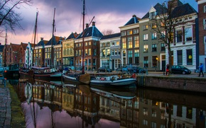 Picture water, reflection, river, home, yachts, the evening, channel, Netherlands, Groningen