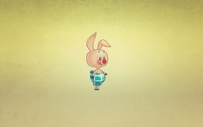 Wallpaper minimalism, Piglet, Winnie-the-Pooh, smile, pig, Winnie The Pooh