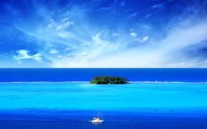 Wallpaper sea, boat, island, Blue