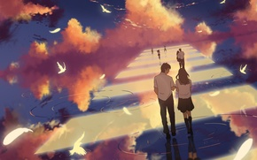 Picture the sky, water, clouds, birds, reflection, girls, anime, art, the transition, form, guys, students, dias …