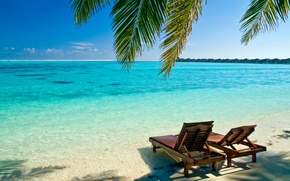 Picture sand, sea, summer, water, the ocean, shore, landscapes, chairs, sun loungers, beaches