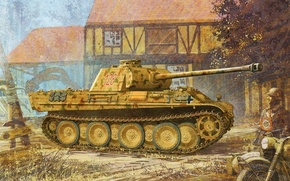 Wallpaper figure, Panther, the second world, the Germans, the Wehrmacht, medium tank, Sd.Car. 171, Panther, PzKpfw ...