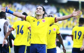 Picture happiness, football, player, goal, football, goal, glory, Colombia, Colombia, take, Paraguay, Paraguay, FIFA World Cup, …