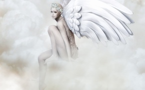 Picture look, face, pose, rendering, patterns, wings, angel