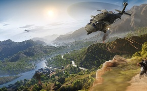 Picture Mountains, Soldiers, Ubisoft, Helicopter, Tom Clancy's Ghost Recon Wildlands, Mercenaries