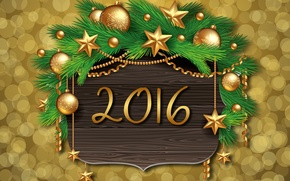Picture decoration, balls, tree, New Year, Christmas, golden, balls, New Year, Xmas, decoration, Happy, 2016