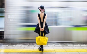 Picture girl, background, train