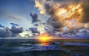Picture sea, wave, the sky, sunset