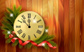 Picture vector, New year, holiday, watch, time, ribbon, branches, midnight