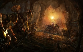 Picture sword, warrior, bow, art, monsters, team, horns, MAG, cave