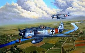 Picture the sky, river, earth, figure, road, art, buildings, Fw 190, Focke-Wulf, Focke-Wulf, WW2, German, single, …