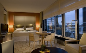 Picture interior, penthouse, table, bed, Windows, TV., penthouse, suite, bedroom, chairs