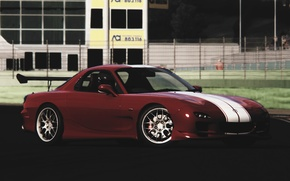 Picture strips, tuning, Machine, Mazda, Parking, white, red, drift, Mazda, drift, red, color, RX-7, RX7, tuner, …