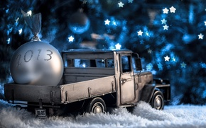 Picture winter, white, toys, ball, New Year, Christmas, figures, stars, machine, Christmas, year, holidays, New Year, …