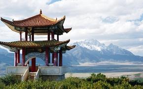 Wallpaper China, pagoda, snowy mountains
