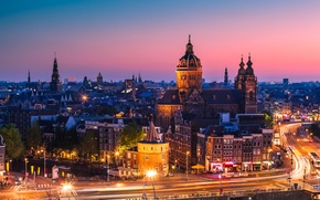 Picture sunset, machine, the city, lights, building, road, home, the evening, excerpt, roof, Amsterdam, Netherlands, street, …