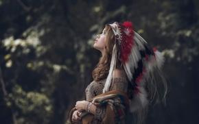 Picture portrait, feathers, profile, bokeh, headdress