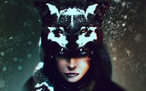 Picture look, girl, wolf, art, shaman