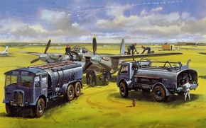 Picture field, figure, aircraft, tankers, war.airfield.takeoff, wait. staff