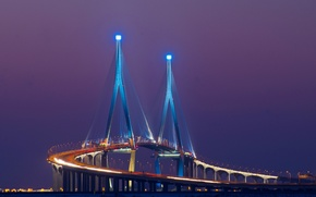 Picture the sky, night, bridge, the city, lights, excerpt, backlight, Asia, purple, lilac, South Korea, Songdo