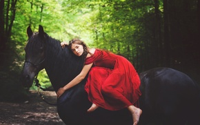 Picture summer, girl, nature, horse, model, red dress