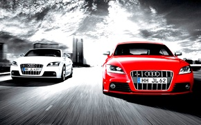 Picture audi, cars, competition, two cars, full speed, white and red